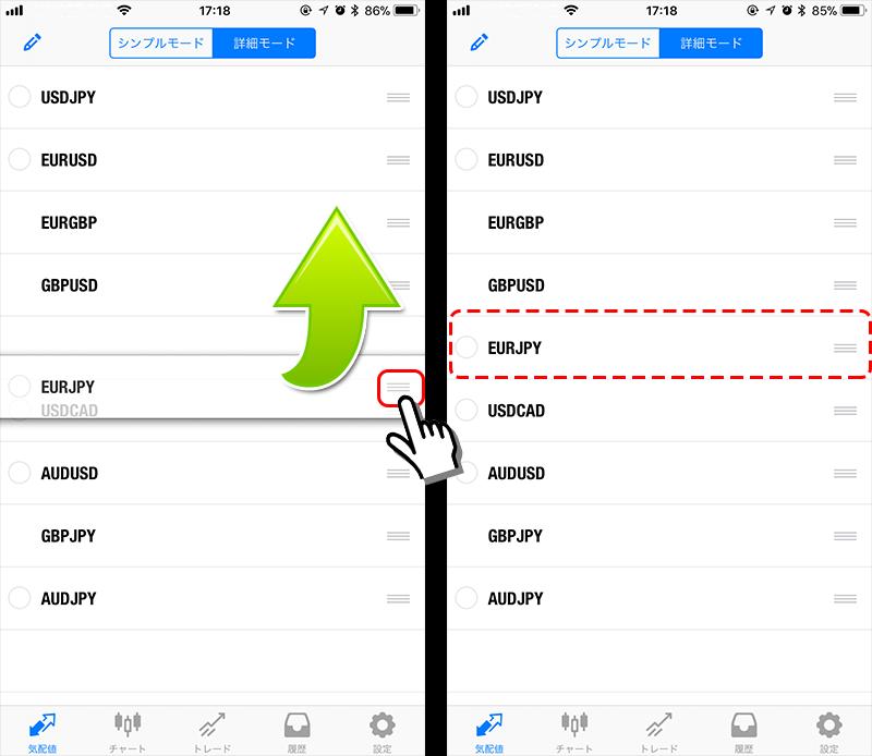 MT4アプリ通貨ペア並び替え